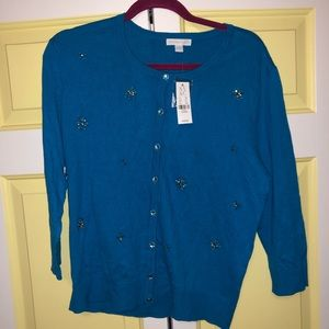 New York and Company Jeweled Button Down Sweater